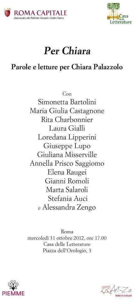 Per Chiara Palazzolo