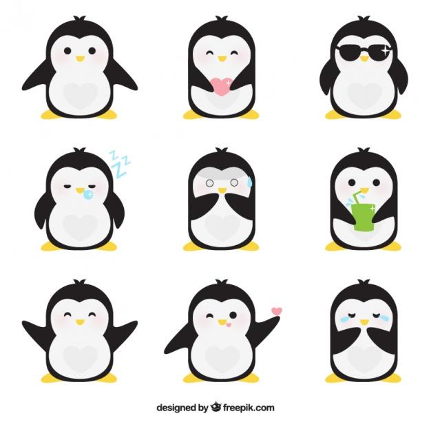 Flat emoticons of fantastic penguin Free Download Vector