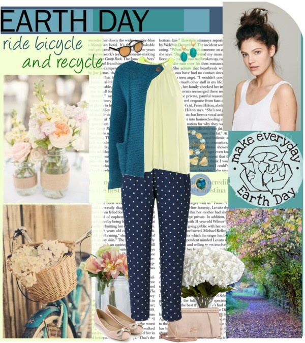 eco chic blue and polka dot pants outfit