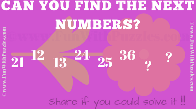 Find next numbers in series 21 12 13 24 25 36 ? ?