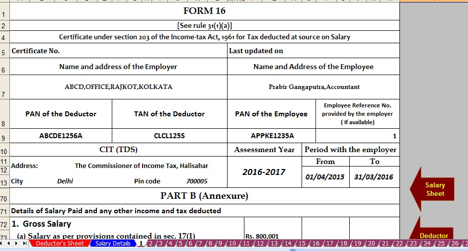 Prepare Automatic Form 16 Part B for AY 2017-18 and Download
