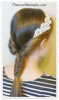Cute hairstyle for school. Fishtail braid with headband tutorial.
