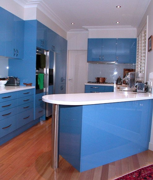 Kitchen Set Warna Orange: Kabinet Dapur Warna Biru