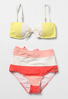 eda7d0504bbb I love how this color-blocked bikini reminds me of a certain t-shirt  everyone seemed to have in the late 80 s. The little bow details give it a  sweet touch