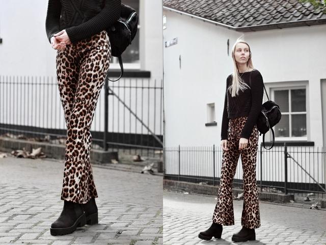 Invito velvet animal flare pants fluwelen panterprint broek blogger outfit herfst inspiratie look