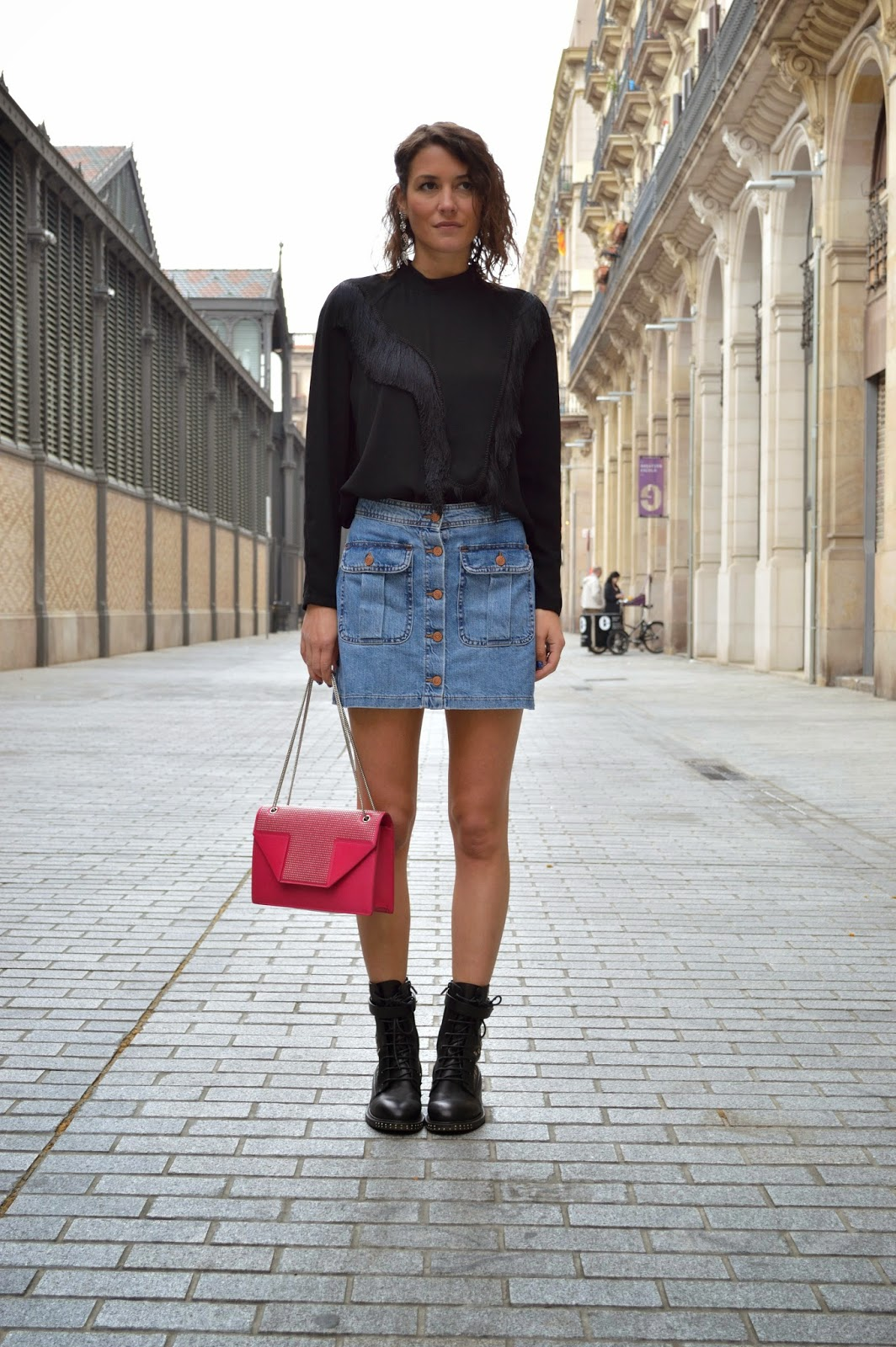 Short denim skirt and black boots – Cool novelties of fashion 2017 ...