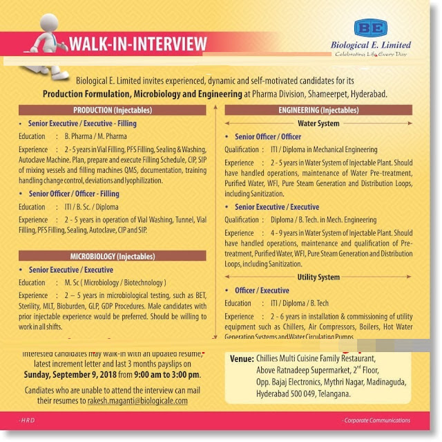 Biological E. Limited   Walk In Interview For Multiple Positions at 9 September