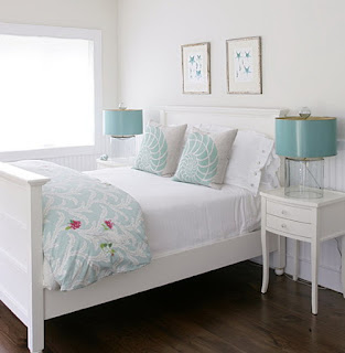 habitación turquesa blanco