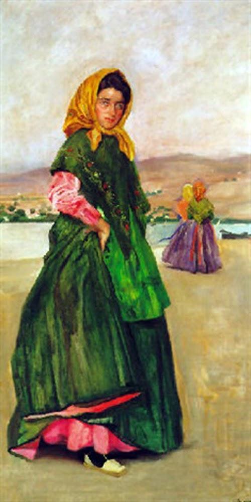 Paseo por la Playa, Laureano Barrau Buñol, Pintor Catalán, Pintor español, Cuadros de Laureano Barrau Buñol, Barrau Buñol, Laureano Barrau