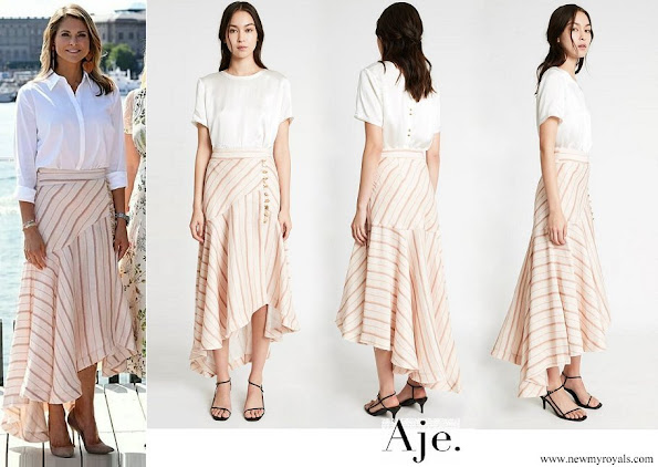 Princess Madeleine wore Aje Pink Cora Silk Linen Striped skirt