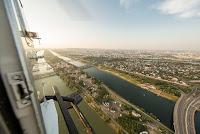 Vista diurna de la Isla del Danubio desde el aire