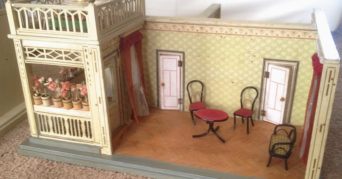 susan 39 s mini homes antique doll house room box with front and back rooms. Black Bedroom Furniture Sets. Home Design Ideas