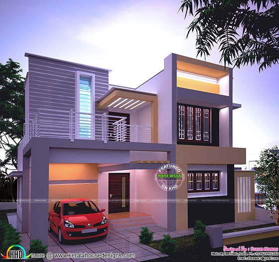 1538 sq-ft beautiful modern house in night view
