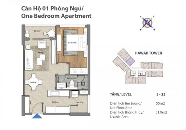 mặt bằng căn hộ 1 phòng ngủ Đảo Kim Cương