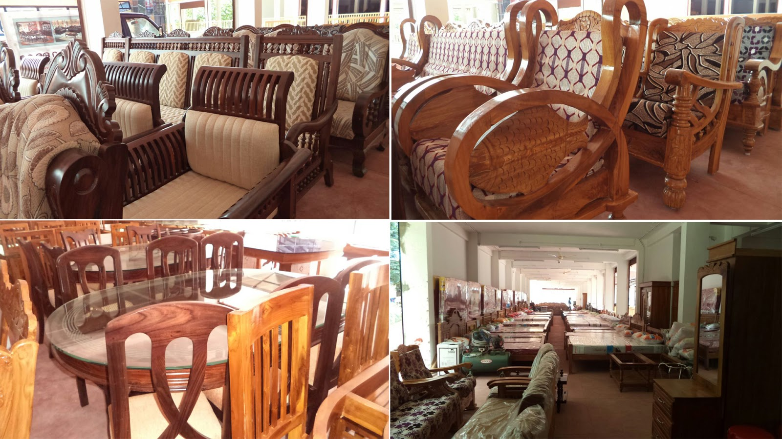 cane sofa set kerala brown recliner wooden