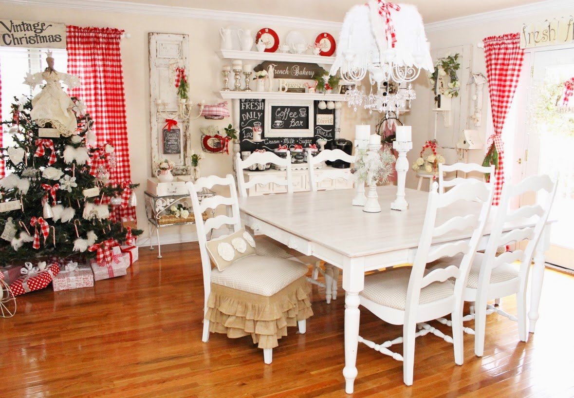 Red and White Buffalo Check Christmas Dining Room- Junk Chic Cottage-How I Found My Style Sundays Christmas Edition- From My Front Porch To Yours