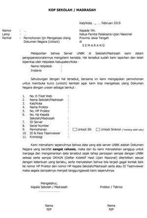 Download Contoh Surat Permohonan Unlock Pada Unbk
