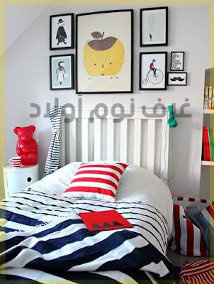 ديكور خاص بغرف النوم اولاد تتميز بالوانها الدافئة.