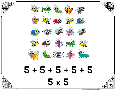 Here is one of the free posters in this set showing the repeated addition to break 25 into five rows, each with 5 bugs! A perfect square!