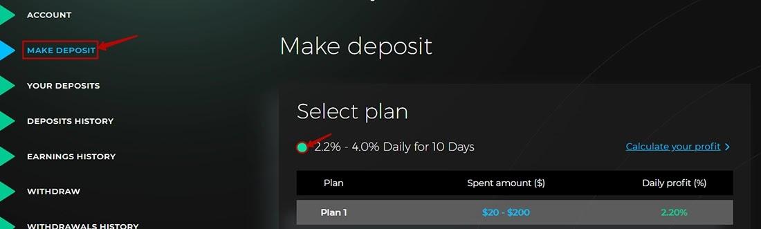 Создание депозита в Visionbit