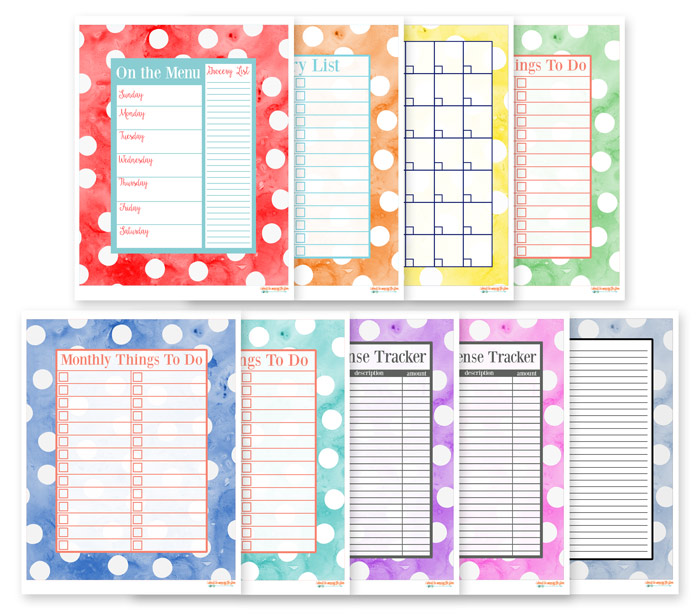 Watercolor Printables for Organization