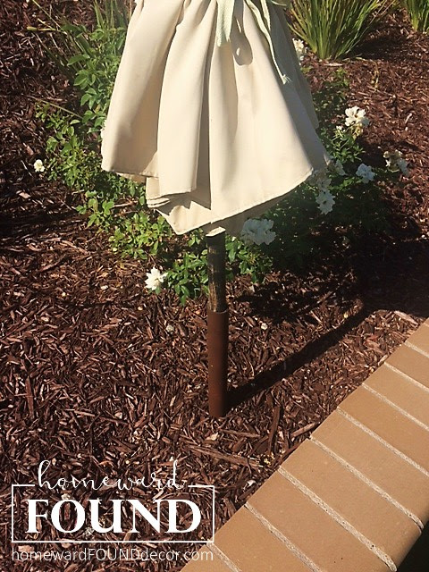 backyard, outdoors, landscaping, umbrella holders, patio umbrellas, outdoor decor, home decor, diy, diy decor, pvc pipe, homewardfound decor