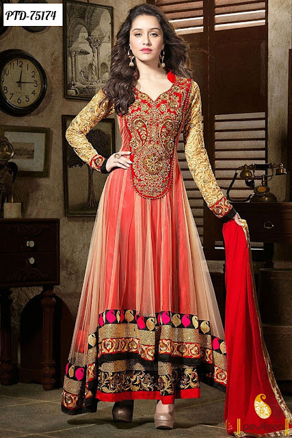 Shraddha Kapoor Red Color Anarkali Salwar Suits For Eid 2016 Online Shopping