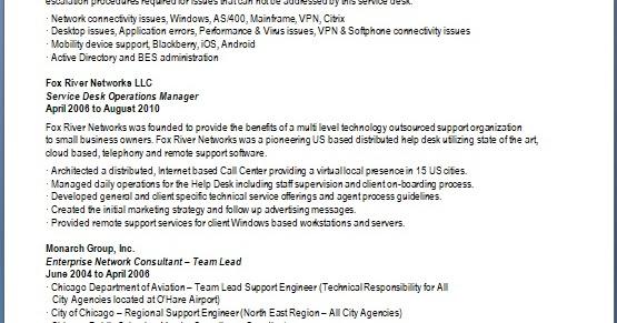 service desk engineer sample resume format in word free