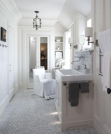 white tile floor bathroom 2017 - Grasscloth Wallpaper