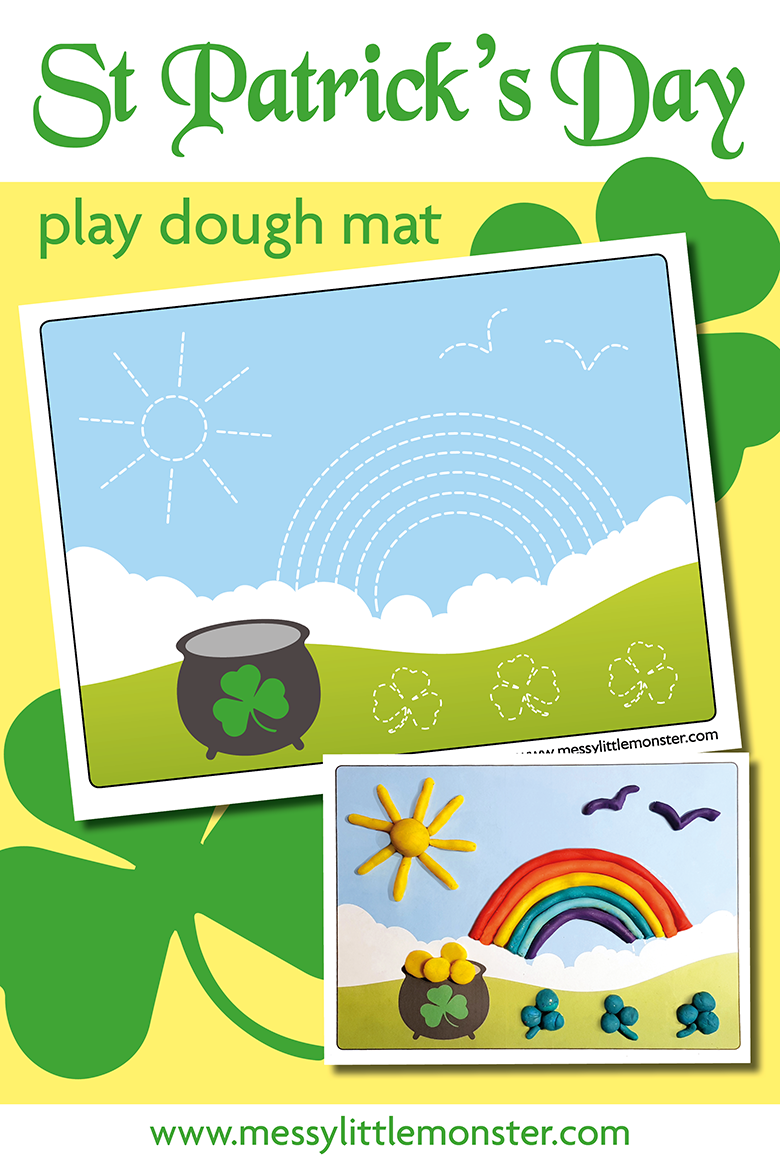 St Patricks Day Playdough Mat. A fun and easy St Patricks Day activity for toddlers and preschoolers.