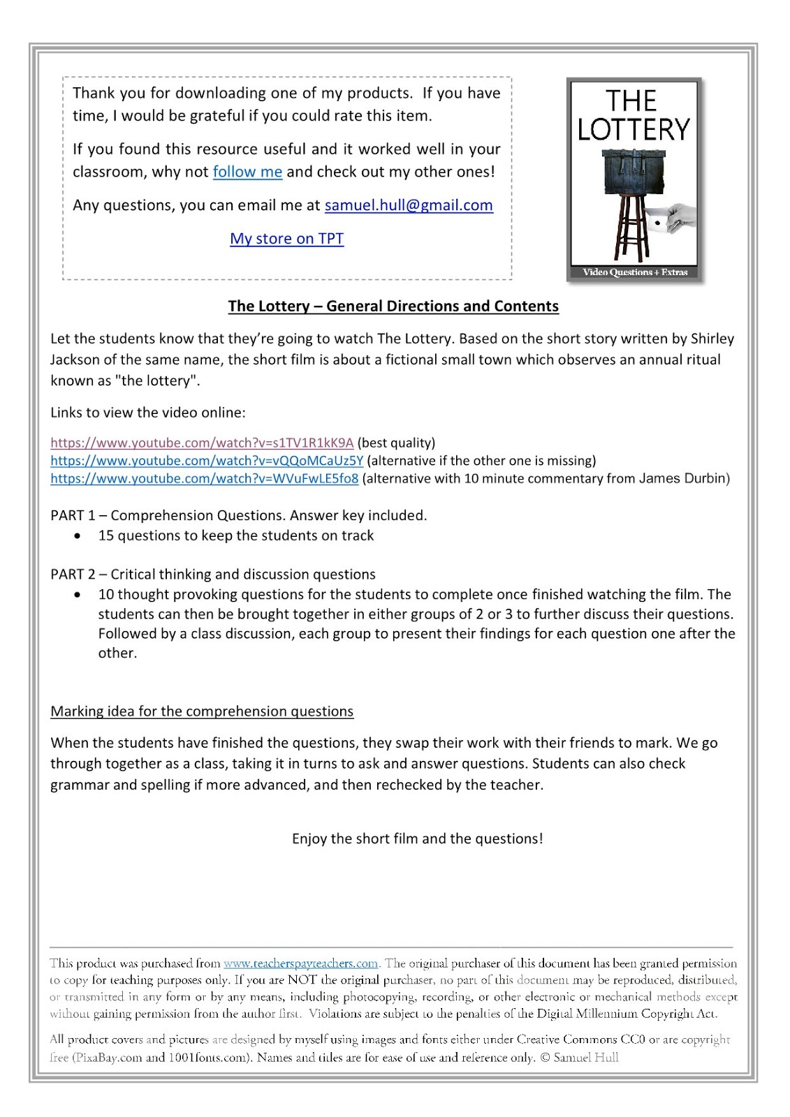 - Movie Guides And Comprehension Questions: The Lottery By Shirley