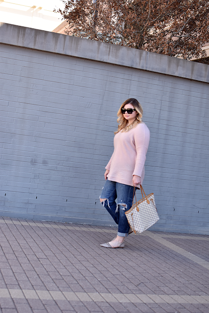 tobi pink sweater dress oversized sweater boyfriend distressed denim jeans sole society d'orsay flats neutral louis vuitton damier azure neverfull gm gucci square sunglasses michele deco 16 watch david yurman cable bracelets 3