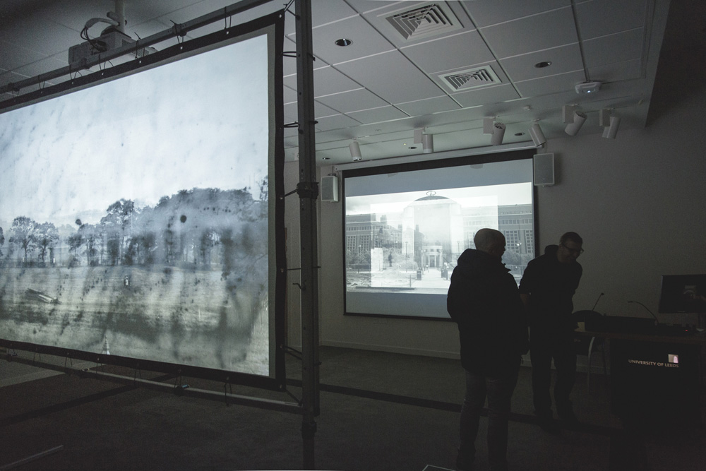projected photographs of Leeds with sound art field recordings Light Night