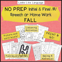 Save time with R sound homework and activities- Fall! Looks Like Language