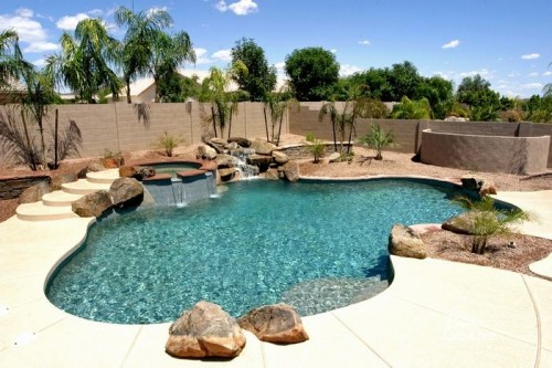 backyard design stone pool