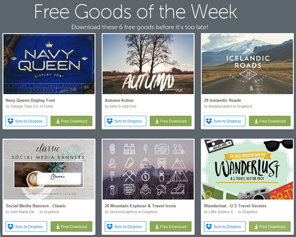this weeks freebies download