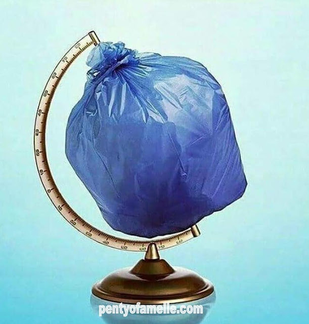 Earth Globe named Blue Planet surrounded with Plastic all around the world