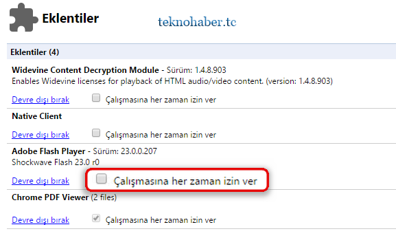 chrome flashplayer izin ver