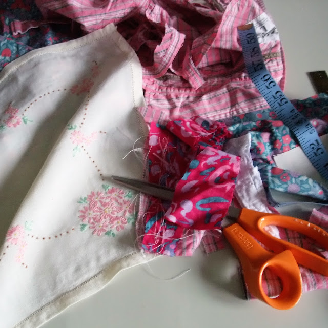 vintage fabric scraps by karen vallerius