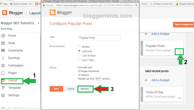Follow these steps To remove A Gadgets or widgets on Blogs