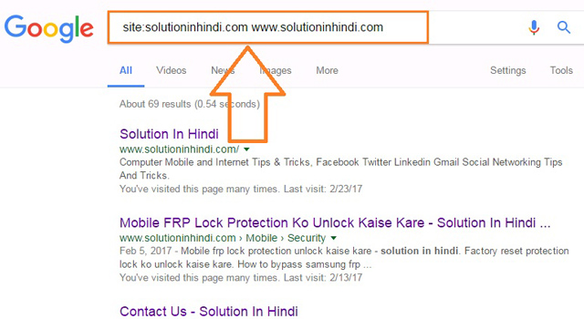 google search only one website (www.solutioninhindi.com)