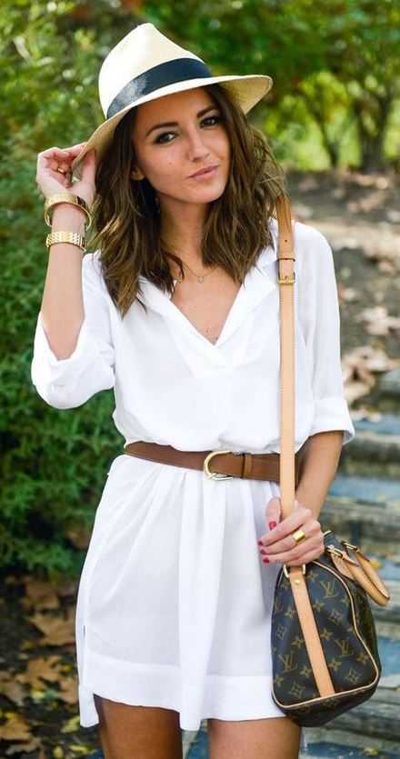 awesome summer outfit / hat + brown bag + white dress + brown belt
