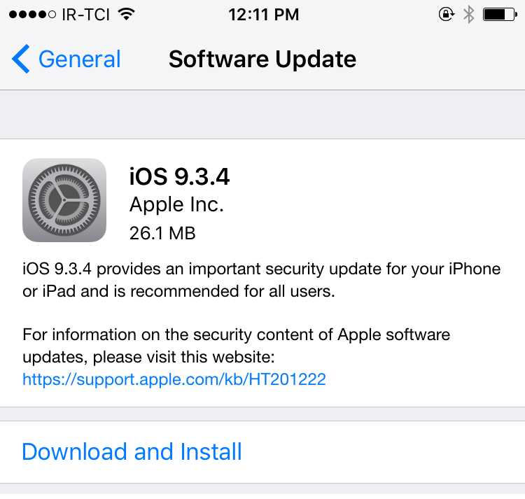 Apple iOS 9.3.4 Firmware