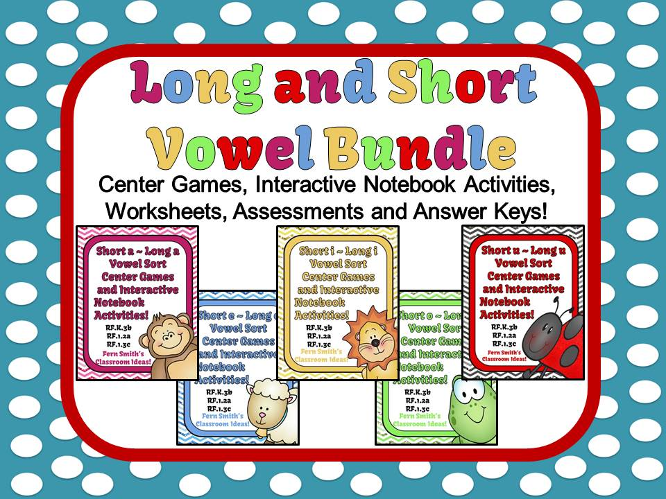 Fern Smith's Discounted Bundle Long and Short Vowel Center Games and Interactive Notebook