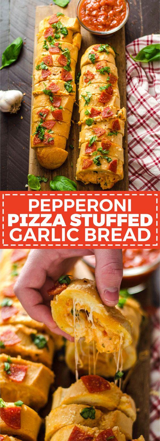 PEPPERONI PIZZA STUFFED GARLIC BREAD