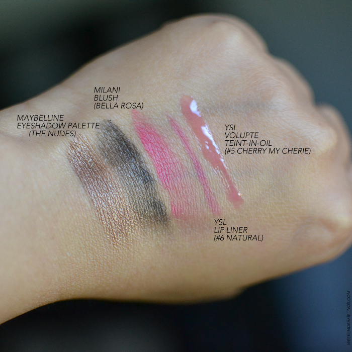 Makeup Swatches - Maybelline Nudes Eyeshadow Palette Milani Bella Rosa blush YSL lipliner 6 Natural YSL Volupte Teint-in-Oil 5 Cherry my Cherie