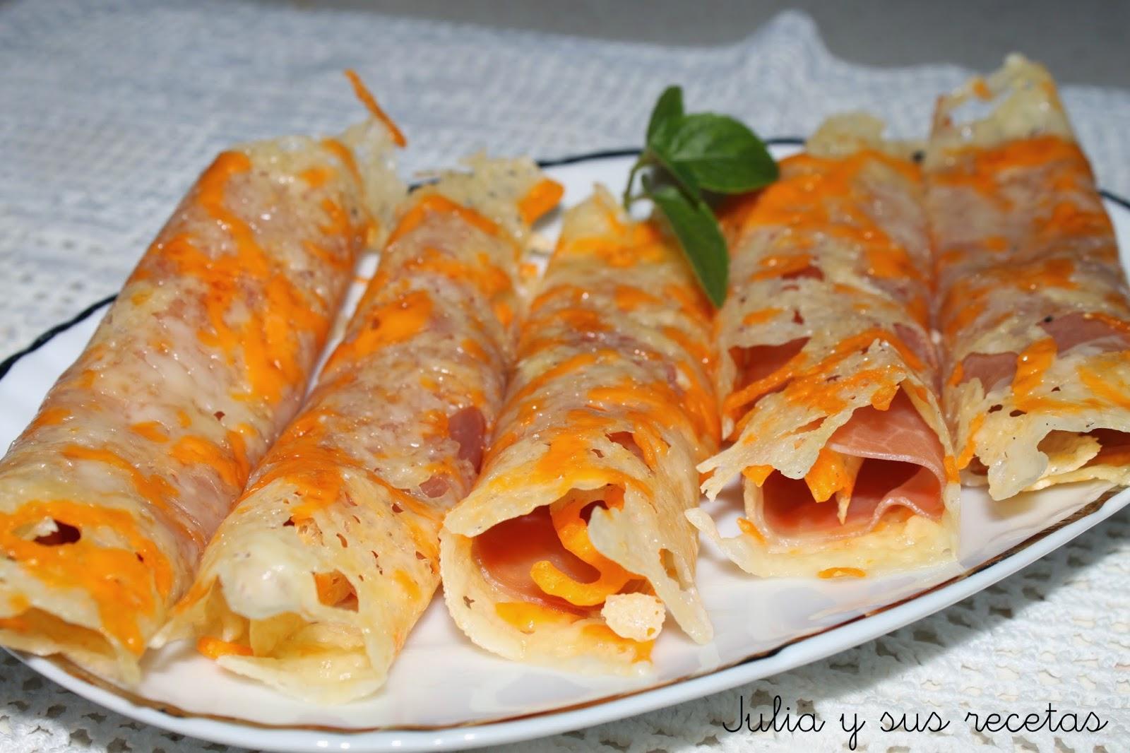 Crujientes de queso relleno de jamón serrano. Julia y sus recetas