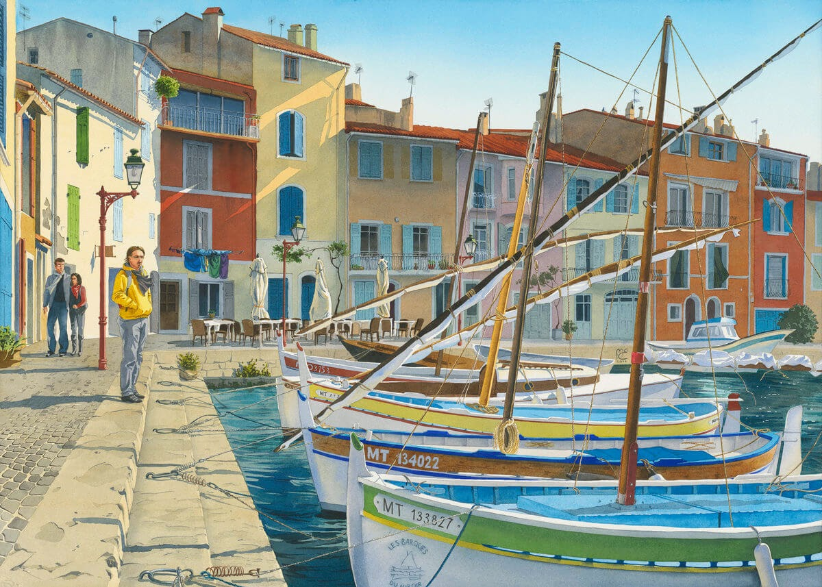 04-Fishing-boats-Martigues-France-Eleanor-Mill-European-Architecture-in-Watercolor-Paintings-www-designstack-co