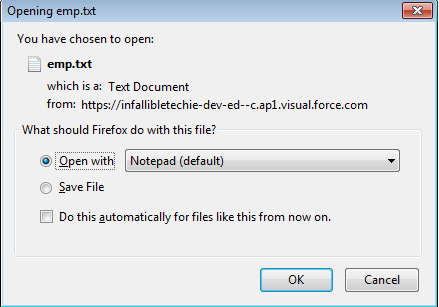 Infallible Techie: How to download visualforce page as text