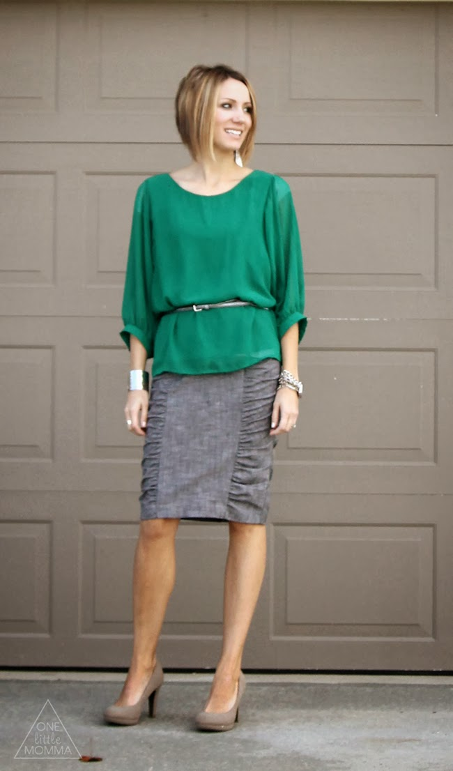 Belted blouse, gray skirt, nude pumps